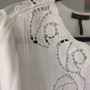 BCBG MAX AZRIA White Boho Blouse lace crochet